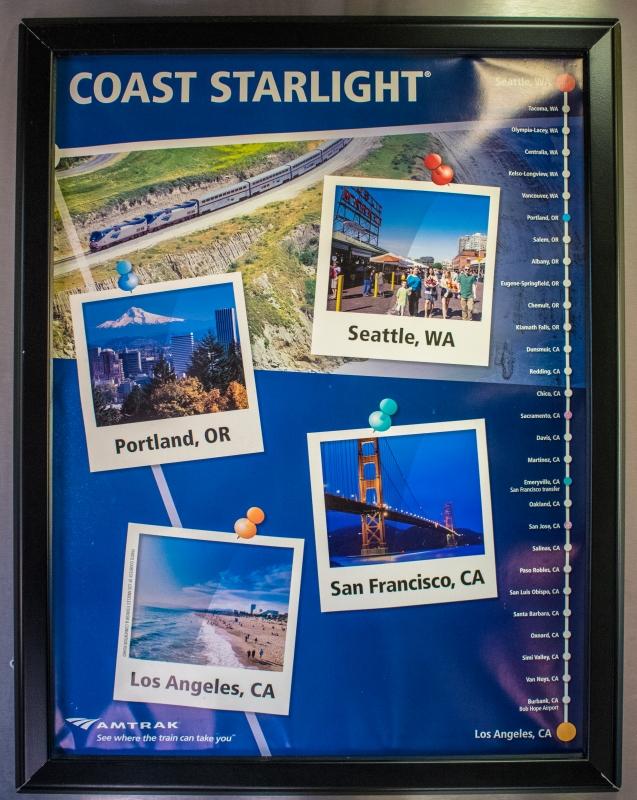Poster im Coast Starlight mit allen Haltestellen