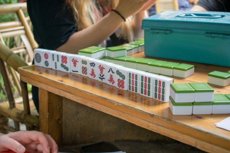 Mahjong-Spiel im People's Park, Chengdu